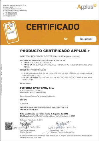 Certificado APPLUS de Calidad de Producto FUTURFLEX