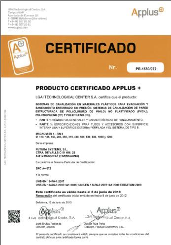 Certificado APPLUS de Calidad de Producto MAGNUM SN4-SN8