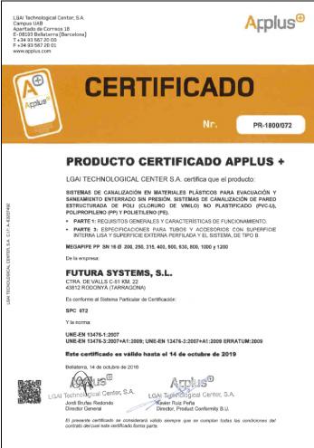 Certificado APPLUS de Calidad de Producto MEGAPIPE SN16