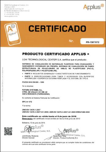 Certificado APPLUS de Calidad de Producto POZOS MAGNUM