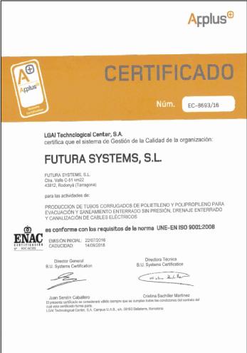 Certificado APPLUS de Sistema de Gestión de Calidad ISO 9001